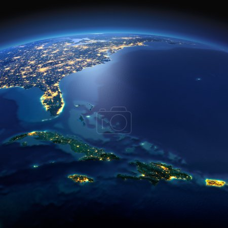 Detailed Earth. Caribbean islands. Cuba, Haiti, Jamaical on a mo