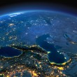 Night planet Earth with precise detailed relief an...
