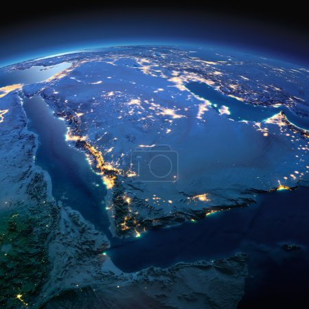 Photo for Night planet Earth with precise detailed relief and city lights illuminated by moonlight. Saudi Arabia. Elements of this image furnished by NASA - Royalty Free Image