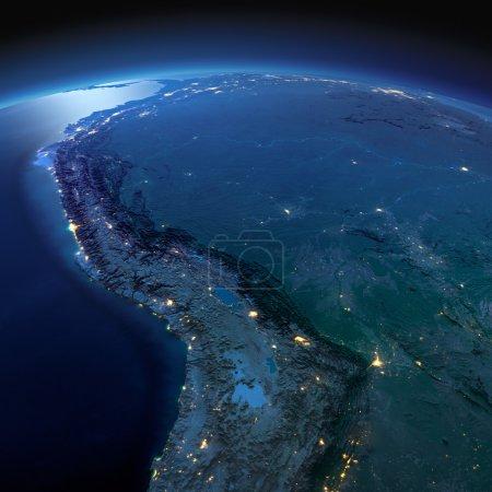 Photo pour Planète Terre nocturne avec relief précis et lumières de la ville éclairées par le clair de lune. Amérique du Sud. Bolivie, Pérou, Brésil. Éléments de cette image fournis par la NASA - image libre de droit