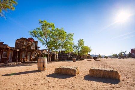 Pioneer town buildings and hay stack