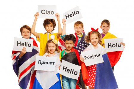 Kids with signs in different languages