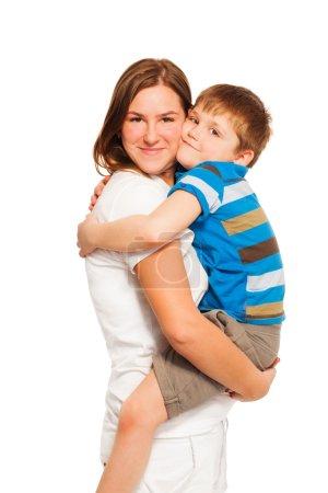mother hugging her kid son