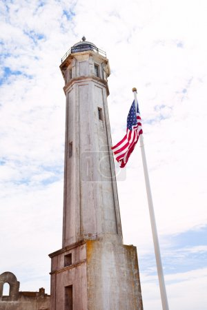 Tower and USA flag in Alcatraz
