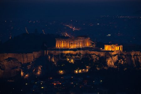 Photo for Night panorama of Athens with Parthenon temple and Acropolis - Royalty Free Image