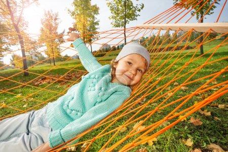 Cute girl laying hammock