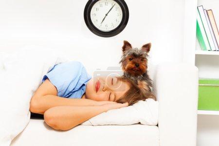 Photo pour Vue du petit Yorkshire Terrier mignon avec garçon endormi sur canapé blanc et horloge sur le mur - image libre de droit