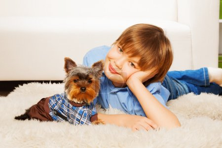 Yorkshire Terrier with boy