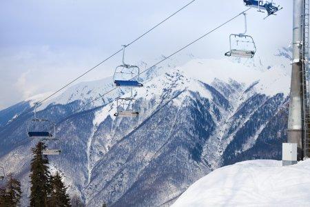 Mountain ski chair lift ropeway