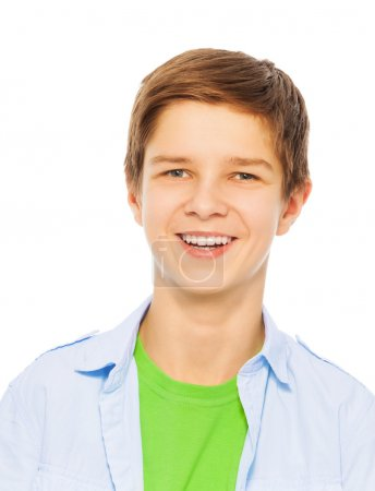 Photo for Close portrait of young teen boy with big smile isolated on white - Royalty Free Image