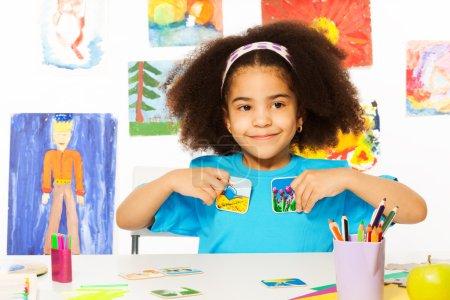 African girl plays developmental game