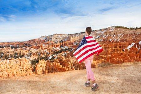 Woman wears USA flag