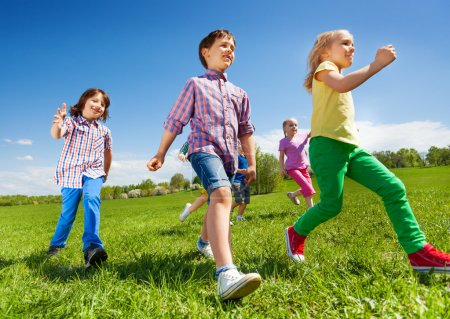 children running in park