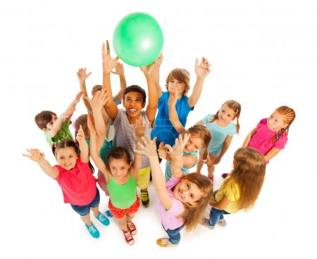 Group of kids catching green ball