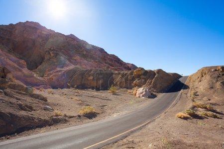 Road on artist drive between rocks