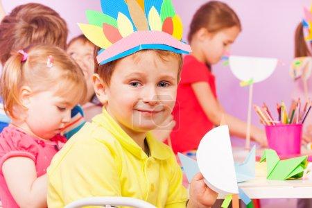 Craft kindergarten classroom portrait of boy