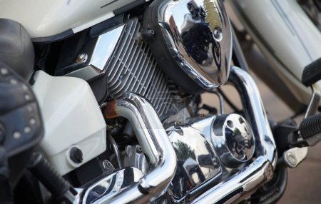 Photo for Motorcycle shiny metal pipes and engines - Royalty Free Image