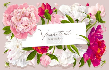 Illustration for Luxurious pink, red and white peony flower and leaves greeting card with a paper label - Royalty Free Image