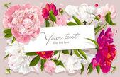 """Постер, картина, фотообои """"Розовый, красный и белый пион поздравительных открыток"""""""