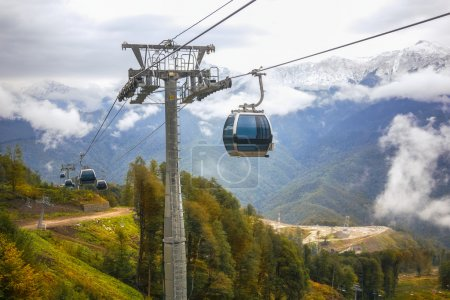 Line of lifts in picturesque mountains