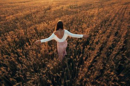 Photo pour Belle fille brune souriante dans le champ de blé au coucher du soleil, levant les mains, vue arrière - image libre de droit