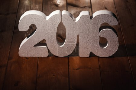 Photo for Number 2016 on wooden table background, new year template - Royalty Free Image