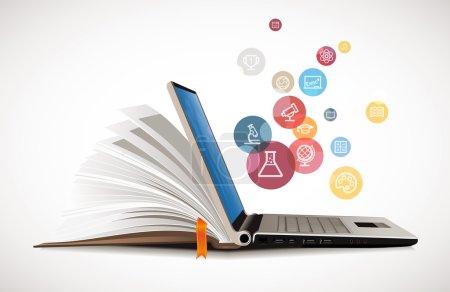 Illustration pour Communication informatique - e-learning - réseau internet comme base de connaissances - image libre de droit
