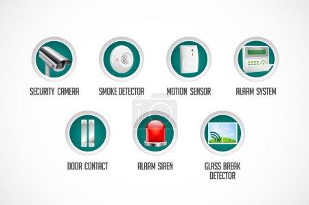 Home security system - motion detector, glass break sensor, gas detector, cctv camera, alarm siren, alarm system concept