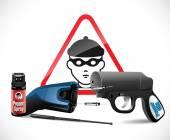 Self defense weapons - taser pepper spray and pepper pistol