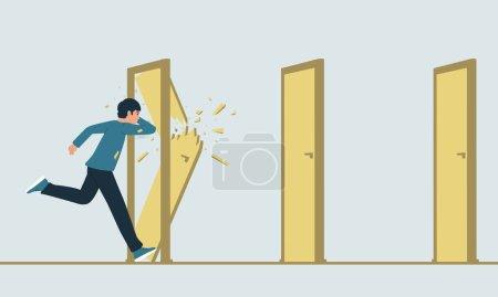 Vektorillustration eines Laufenden, der auf seinem Weg verschlossene Türen zerstört. Die Metapher der Überwindung von Hindernissen. Das Konzept eines Durchbruchs.