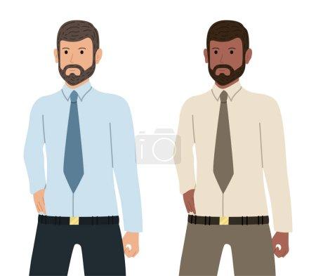 Illustration pour Homme d'affaires barbu confiant d'origine caucasienne et afro-américaine. Caractère employé dans le style plat. - image libre de droit