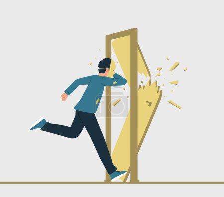 Vektorillustration eines rennenden Mannes mit Maske auf dem Gesicht, der eine geschlossene Tür auf seinem Weg zerstört. Die Person versucht, das Betrügersyndrom oder die dissoziative Identitätsstörung loszuwerden.