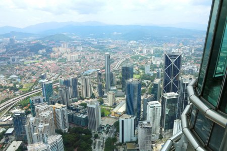 City view from the top floor of Petronas Twin Towers, Malaysia, Asia