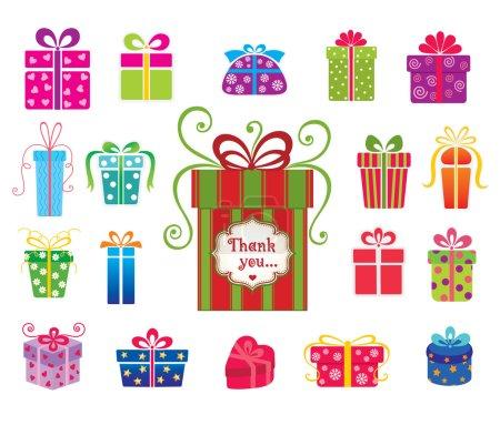 Illustration pour Ensemble de boîtes-cadeaux vectorielles colorées  . - image libre de droit