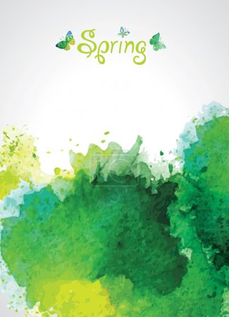 Abstract Green Watercolor Background for Spring.
