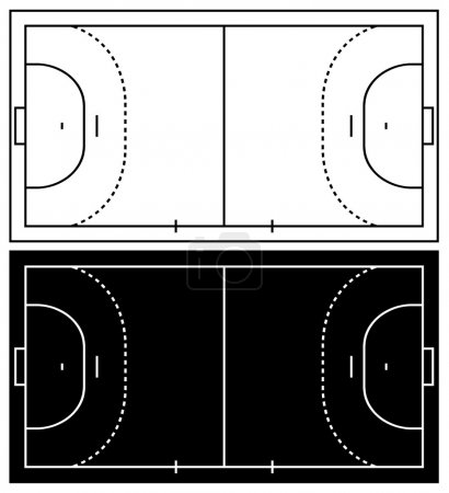 Handball court isolated