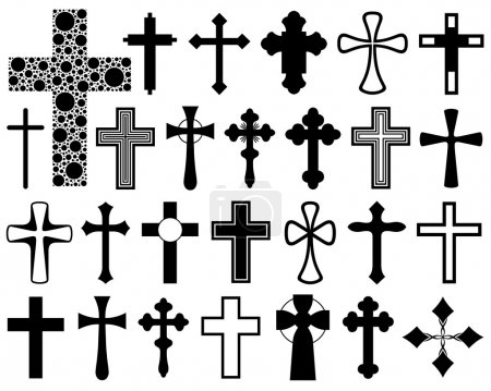 Illustration for Set of different crosses isolated on white - Royalty Free Image