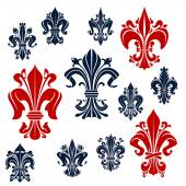 French monarchy fleur-de-lis red and blue lilies
