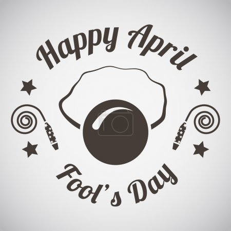 Illustration for April fool's day emblem with clown nose mask. Vector illustration. - Royalty Free Image