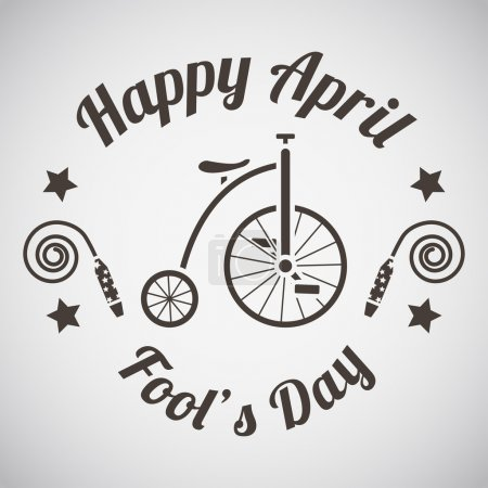 Illustration for April fool's day emblem with clowns bike. Vector illustration. - Royalty Free Image