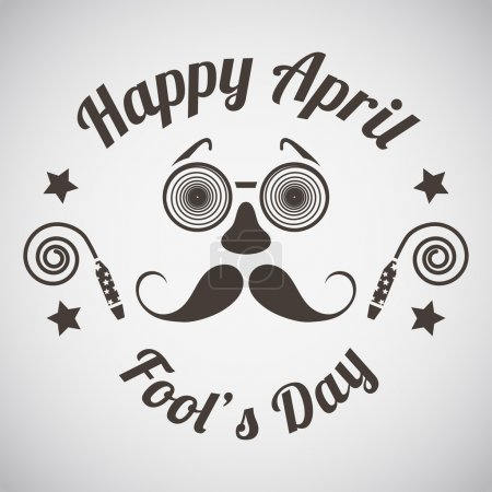 Illustration for April fool's day emblem with goggle and mustache mask. Vector illustration. - Royalty Free Image