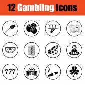 Gambling icon set  Thin circle design Vector illustration