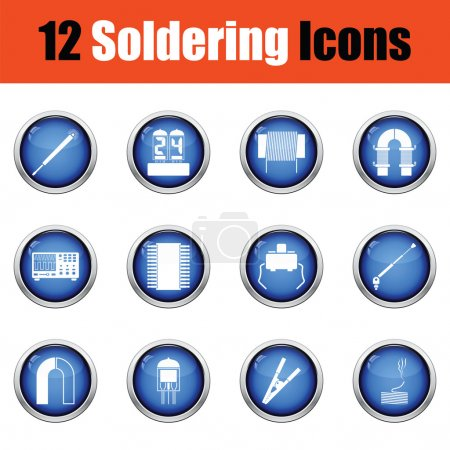 Set of twelve soldering  icons.