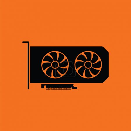 GPU icon. Orange background with black. Vector ill...