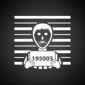 Prisoner in front of wall with scale icon Black background with white Vector illustration
