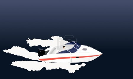 Illustration for Speed motor boat with ripples illustration. - Royalty Free Image