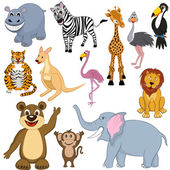 Set of 12 Cartoon Animals Ready For Use in Zoo Theme