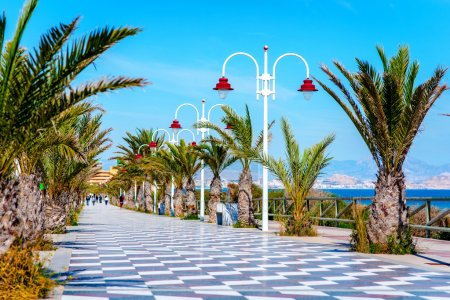 People walking along the seafront palm-lined prome...