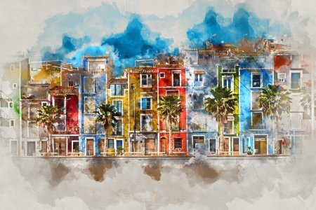 Digital watercolor painting of Villajoyosa town, Spain