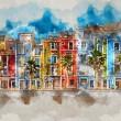 Digital watercolor painting of Villajoyosa town, C...